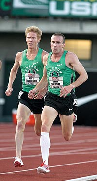 Badgers in green: Matt Tegenkamp (left) and Chris Solinsky were the top two finishers in the 5,000 meter race at the U.S. outdoor track championships in June. Photo: Photorun