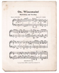 """On, Wisconsin!"" was first introduced as UW's football fight song in 1909. The composer reworked the piece after originally intending to enter it in a contest to select a new University of Minnesota fight song. Photo: UW-Madison Archives"