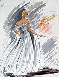 Edith Head designed  this elegant ball gown for Grace Kelly to wear in Alfred Hitchcock's To Catch a Thief.