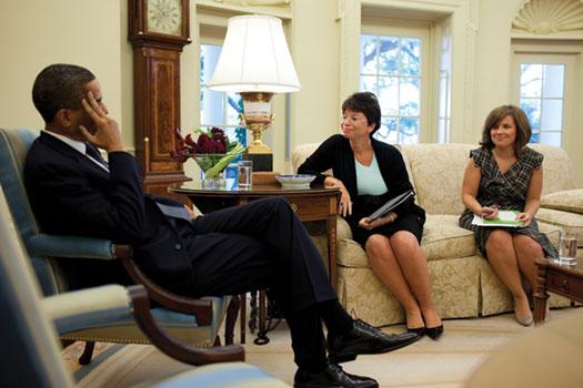 Mastromonaco (right) meets in the Oval Office with President Obama and  senior adviser Valeria Jarrett.