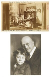 Above: Jastrow with his adopted son, Benno, who later died in World War I. Top: The Jastrows lived in two rooms in Ladies Hall when they first arrived on campus.