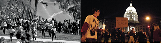 <p>It's a study in contrasts: Protestors against the Vietnam War ran from tear gas on Bascom Hill in the spring of 1970 (left), when a  culmination of factors led to a week of campus protest — and a return of the National Guard. In recent years, demonstrations against  the wars in Iraq and Afghanistan, including a candlelight march at the State Capitol in 2003 (above), have been peaceful.</p>