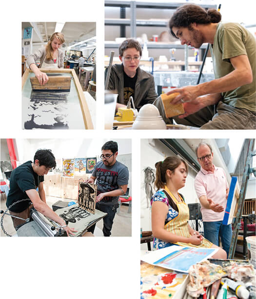 <p>Top left: Like magic, an image appears as Sigrid Hubertz x'12 uses a squeegee in art professor John Hitchcock's screen-printing class in the Mosse Humanities Building.  </p> <p>Top right: Watch and learn. Jacquelyn Whisenant x'12 (left) pays close attention as Paul Sacaridiz, associate professor of art, demonstrates a ceramic technique during a class session focusing on making molds for working with clay. </p> <p>Right: With her tools of the trade close at hand, Yvonne Foy x'13 (left) listens to advice from art professor T.L. Solien during Intermediate Painting class in the Mosse Humanities Building. </p> <p>Above: Have press, will travel. Justin Maes x'12 (left) and Joseph Velasquez MA'06, MFA'07 create a woodblock print on a T-shirt during an event at the Art Lofts in 2009. A few years earlier, Velasquez and Greg Nanney MA'06, MFA'07 created Drive By Press, a design collective that allows them to take their passion for printmaking on the road. They bought a fourteenth-century-style press and have been spreading ink and the art of print- making to audiences across the United States ever since.</p>