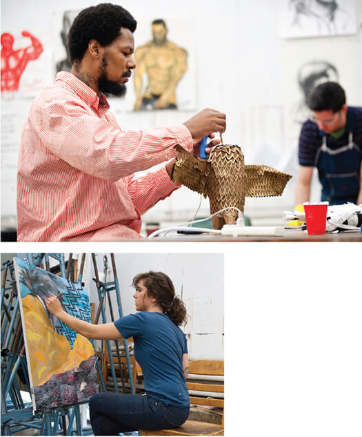 <p>Above: An idea begins to take tangible shape that others can absorb as Comfort Wasikhongo x'12 works on a three-dimensional mixed-media piece in an Intermediate Drawing class taught by faculty associate Michael Velliquette MA'99, MFA'00. </p> <p>Left: For classmate Meg Fransee x'11, the medium of choice is paint as she works on a piece in Velliquette's Intermediate Drawing class held during Summer 2010. The course explores conceptual drawing in various media. </p>
