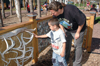 A playground with cultural features — and plenty of room to play and exercise — came to fruition as UW researchers worked closely with families at the Bad River reservation. Photo: Rick Oliva