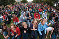 The crowd spilled over onto Bascom Hill and other areas when Library Mall filled to capacity awaiting the arrival of President Barack Obama in September. Photo: Jeff Miller