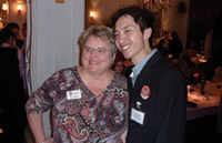 WAA President and CEO Paula Bonner visits with Shawn Li '04