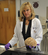 Ann McKee in the lab