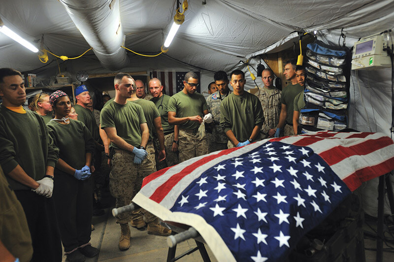 A marine who was fatally injured in the Helmand Province of Afghanistan is pronounced dead.