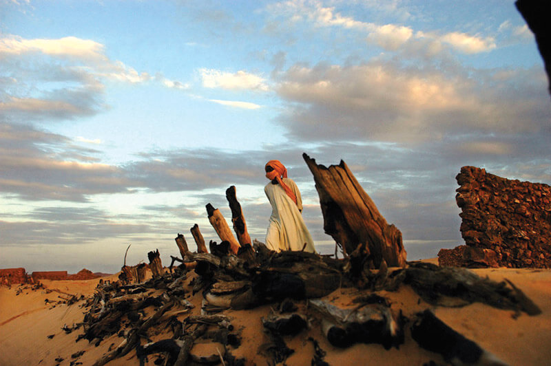 A Sudanese Liberation Army soldier walks through the remains of a village burned by the Janjaweed militia in Darfur in 2004. Thousands of Africans were forced to flee their homes due to attacks on civilians.