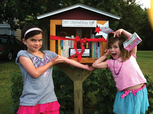 girls at the little library