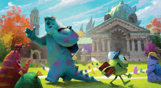 Shades of Bascom Hill? Allison Nelson '08 can feel right at home working on Pixar's next release, Monsters University. Courtesy of Pixar Animation Studios.
