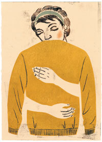 Illustraion: Person hugging themself