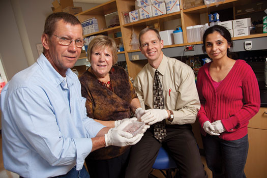 Siblings Tim Reese and Teri Selzer, at left, provided cell samples to UW researchers David Gamm and Ruchira Singh, at right, who are working to cure an eye disease that runs in the Reese family. Photo:John Maniaci/UW Hospital & Clinics.
