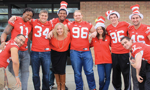 Kayla Gross joined several Badger football players for Read Across America Day in March and visited four elementary schools. Courtesy of Kayla Gross.