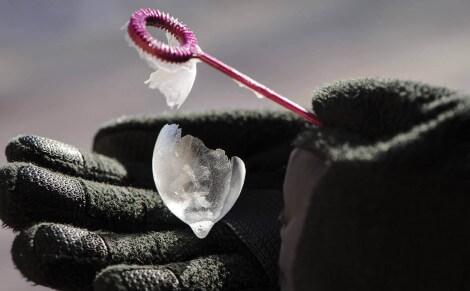 Frozen soap bubble
