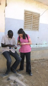 Photo of Professor Laura Schechter and Innovations for Poverty Action (IPA) project coordinator Ahmadou Kandji