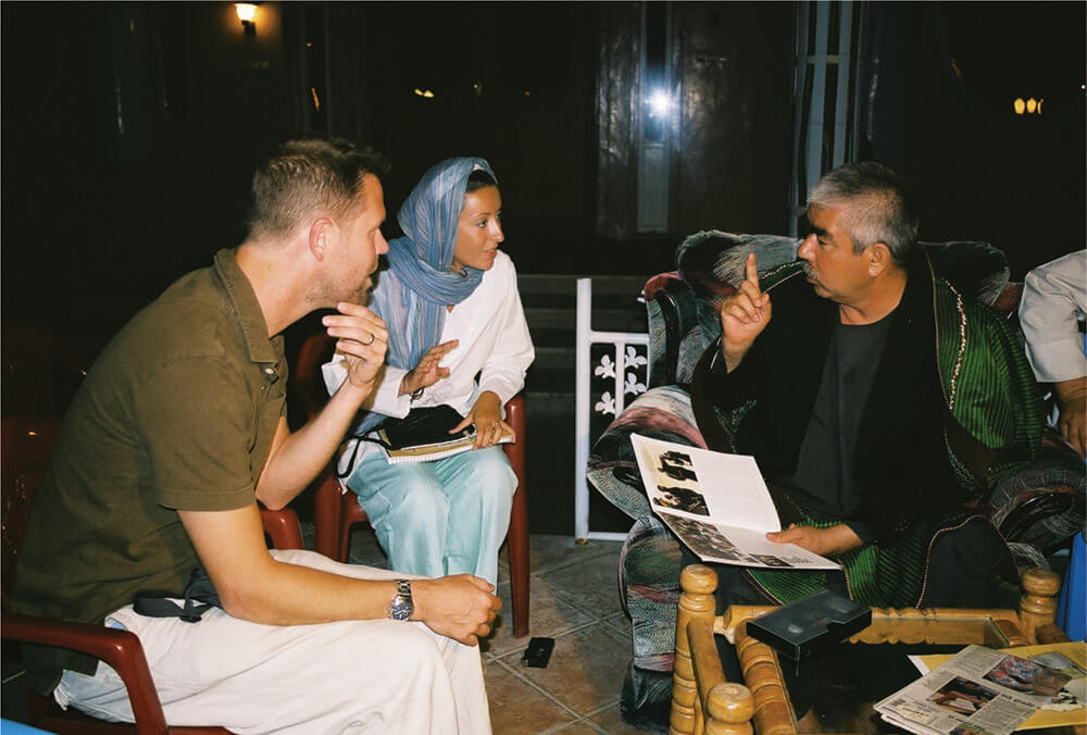 Photo of Williams and his wife, Feyza, with Dostum