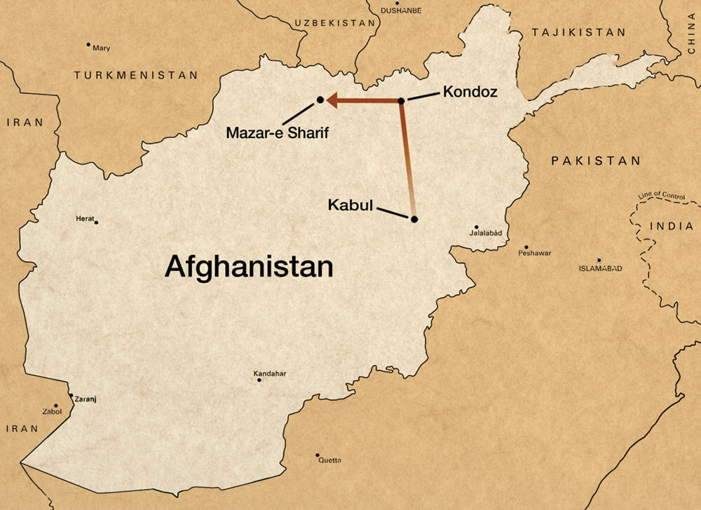 Map showing Williams route from Kabul to Kondoz to Mazar-e Sharif to visit Dostum