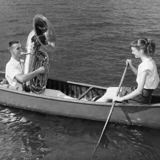 Tuba on a boat