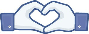 Facebook-style hands forming heart shape