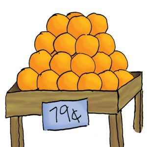 Illustration showing oranges displayed for sale