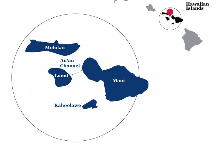 Map of Hawaii showing swimming route
