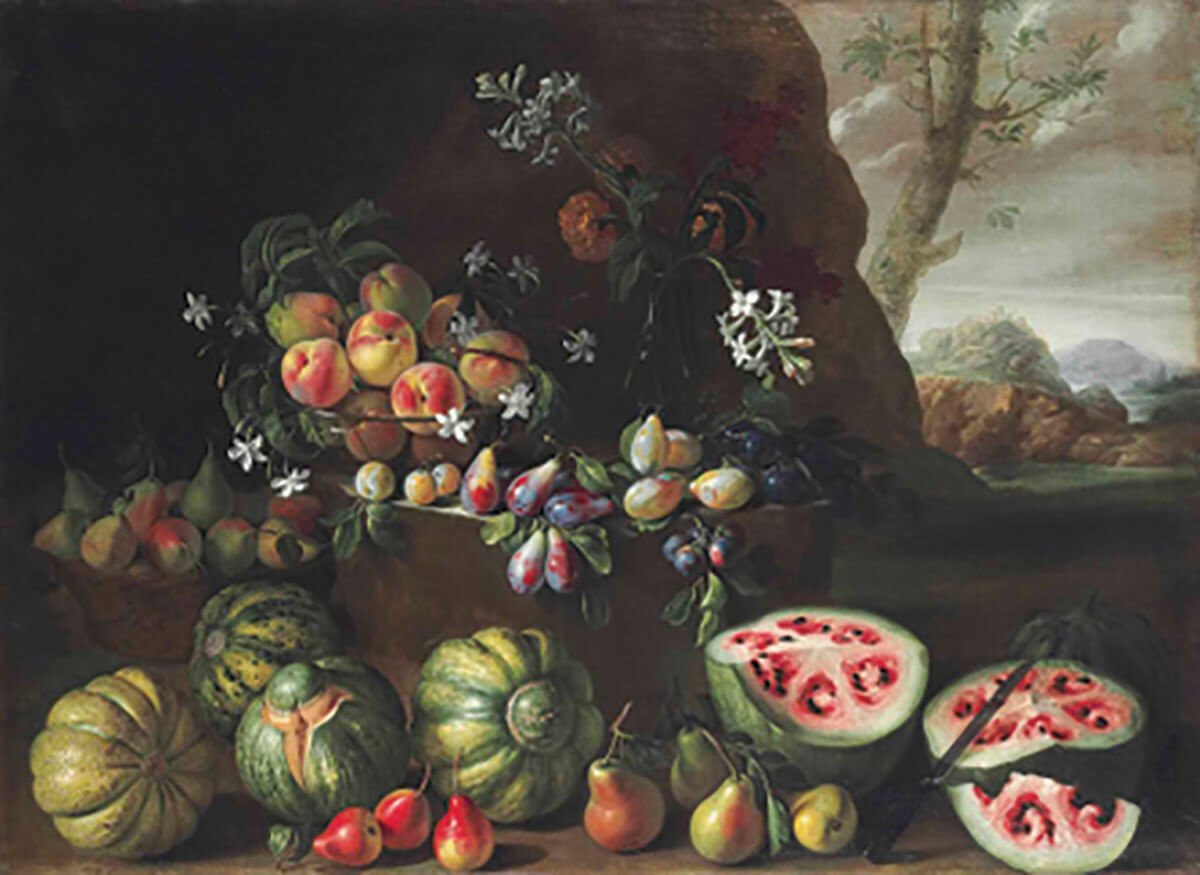 Watermelons, peaches, pears and other fruit in a landscape, Giovanni Stanchi (Rome, c. 1645-1672).