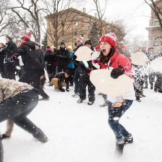 Bascom Hill snowball fight