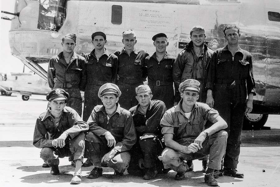 Ellsworth Shields (second from right, back row) served on a B-24 bomber crew in World War II.
