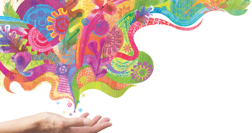 Abstract illustration showing a mix of colors rising from a hand