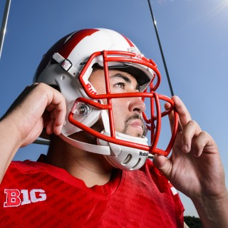 Wisconsin football placekicker Rafael Gaglianone is pictured in front of a field goal post at the University of Wisconsin-Madison during a sunny summer morning on July 14, 2016. A junior student athlete, Gaglianone was born in Sao Paulo, Brazil. (Photo by Jeff Miller/UW-Madison)