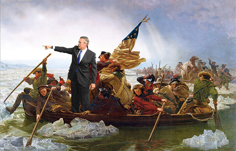 Jeb Bush meme: Washington crossing the Delaware