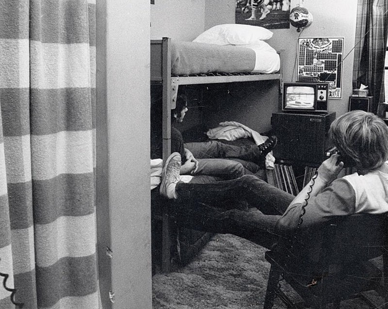 Archival photo of student in dorm