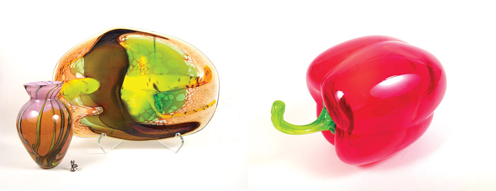 She is known for her glass fruits and vegetables, such as the bell pepper at left, as well as platters and vases (below).