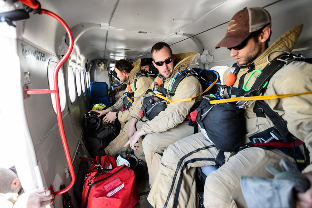 The plane transports eight smokejumpers and all of their provisions.