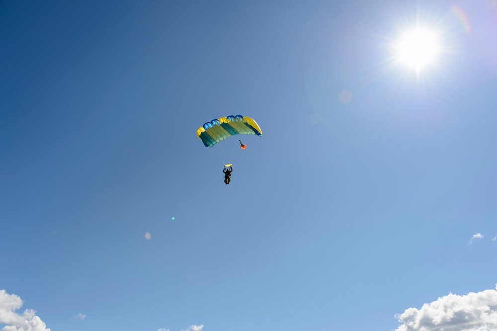 One of the Great Basin Smokejumpers participates in a practice parachute jump.