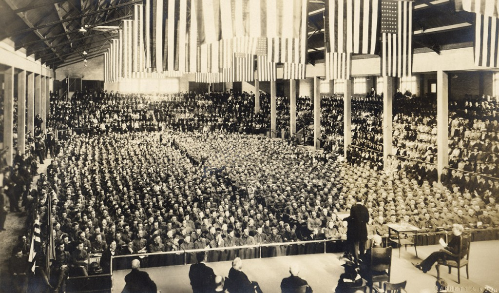 """UW President Charles Van Hise gives a convocation address titled """"What Does War Mean to Me?"""" before a capacity crowd at the Stock Pavilion in April 1917. UW Archives S05419"""