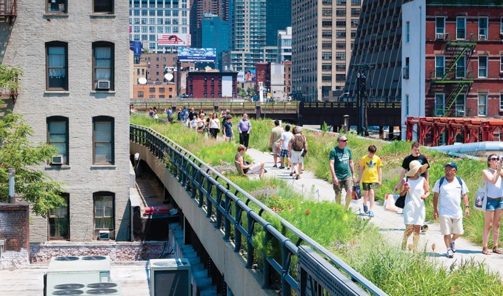 The North Charter Street bridge would echo the High Line, a New York City public park on a historic freight railway line. istock/ferrantraite