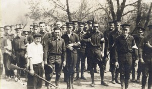 By 1918, when the federal government established the Student Army Training Corps (S.A.T.C), the UW had joined hundreds of U.S. colleges and universities in offering both vocational and military training to students. More than 2,000 students at the UW registered for the program during the first week of the fall semester. UW Archives S05389