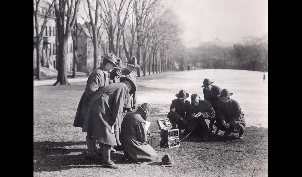 """Radio telegraphers work in the """"field"""" on Bascom Hill. President Birge worried about the long-term effects of the university turning itself over to the war effort. """"The fundamental question for the university of the future is whether the University will return to its former condition when peace comes or whether the vocational and technical work will continue to predominate,"""" he said in 1918. """"The war has shown the country the value of this work as never before, and there will be a strong pressure to over-emphasize it at the expense of liberal studies."""" UW Archives UW.VocationalSection.p.0025"""
