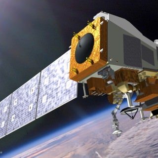 3D rendering of satellite in space.