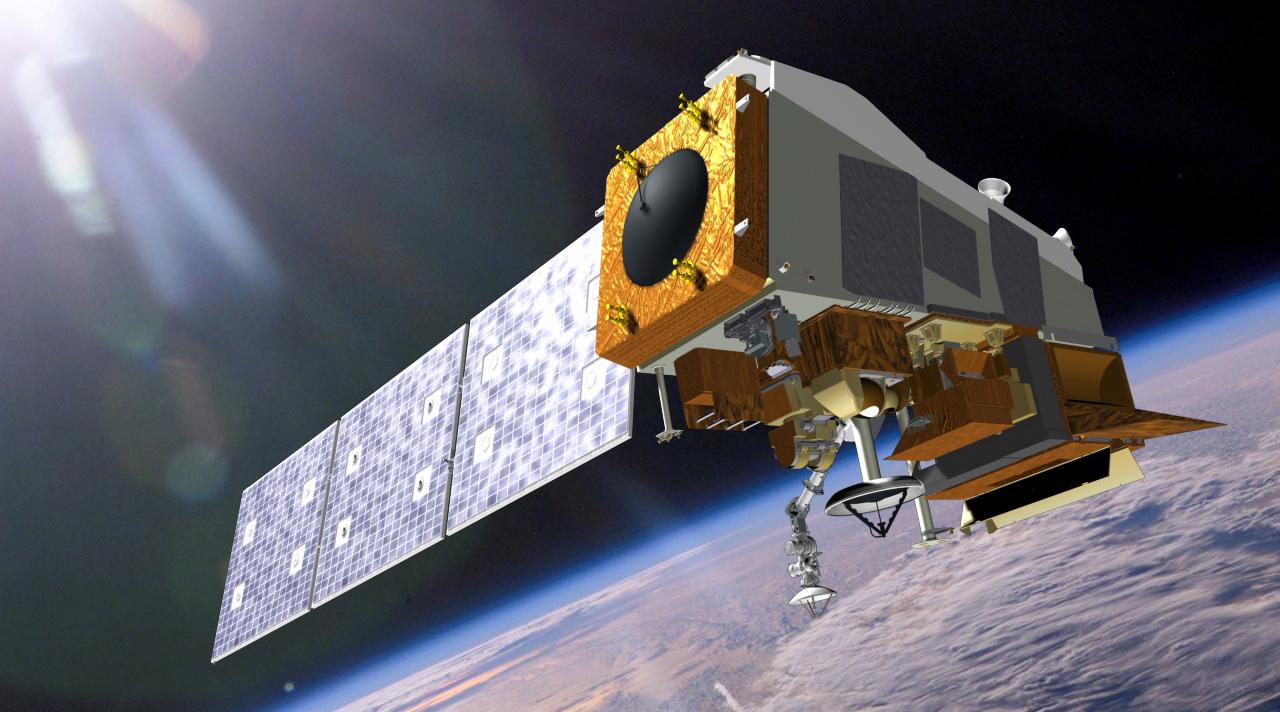 3D rendering of satellite in space.