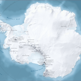 Map of Antarctica with names of mountains and mountain ranges labeled.