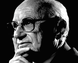 Black and head shot of Milton Friedman.