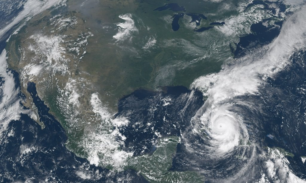 Satellite view of hurricane.