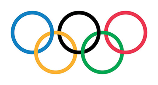 Olympic logo with five multicolored rings.