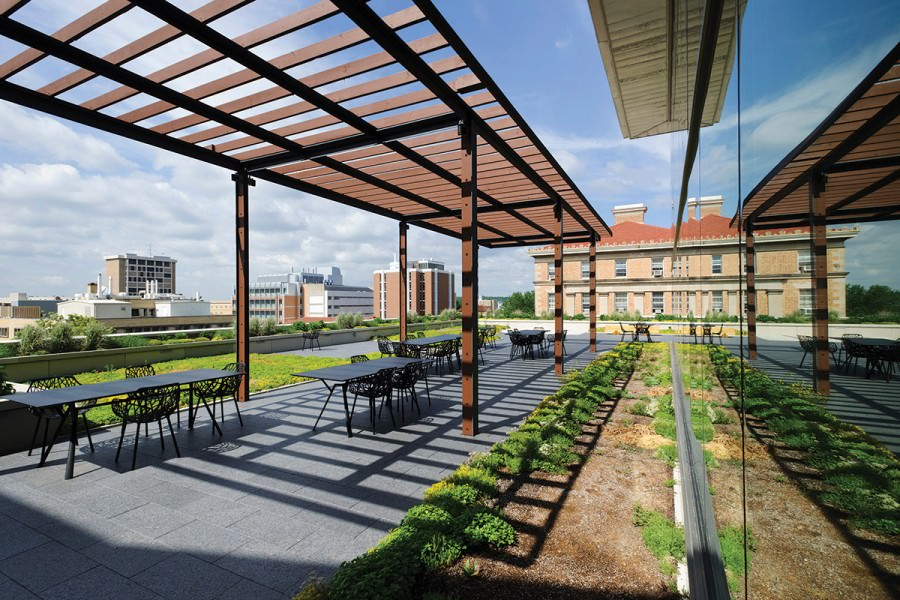 Rooftop deck with wooden trellises and patio tables