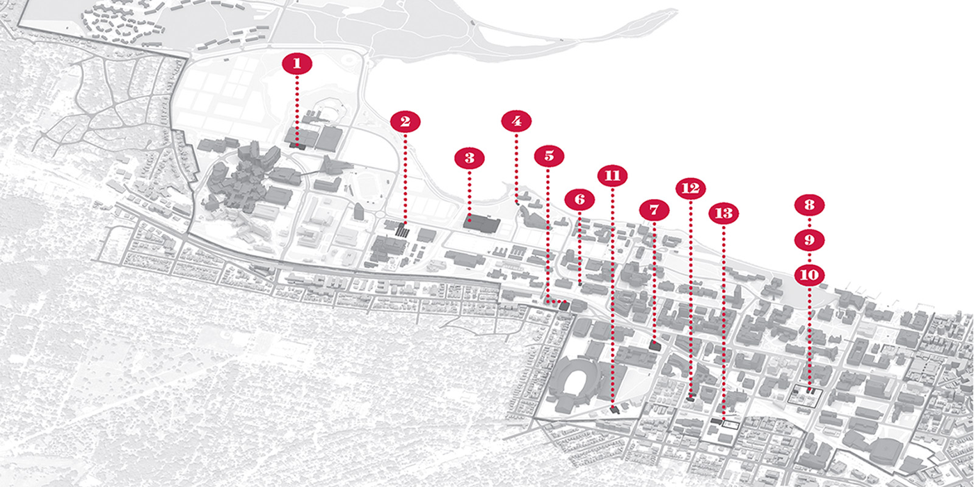 Illustrated map of the UW–Madison campus with red numbers from 1 to 13 pointing to buildings.