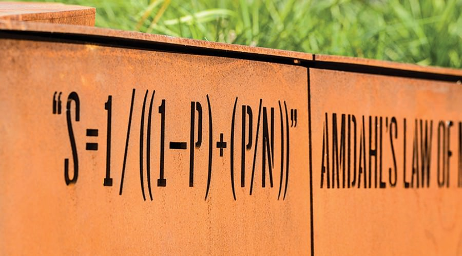 Mathematical equation carved into decorative steel plate.